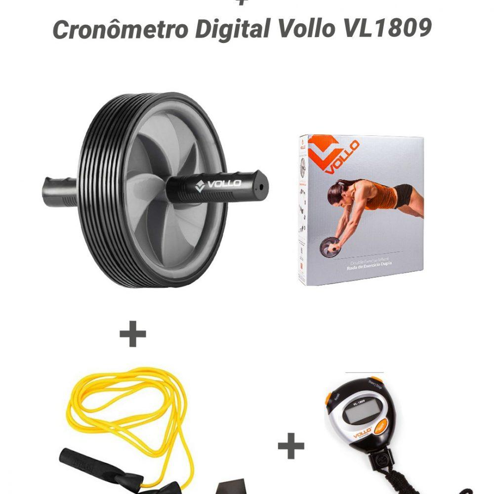 KIT Roda Abd dupla + Cronômetro Vollo + Corda c rolamento