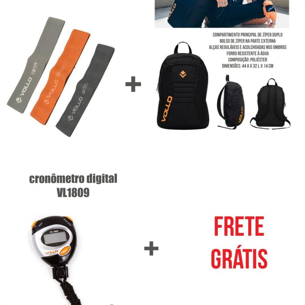 KIT 3 mini band poliéster + mochila + cronômetro Vollo Top 2