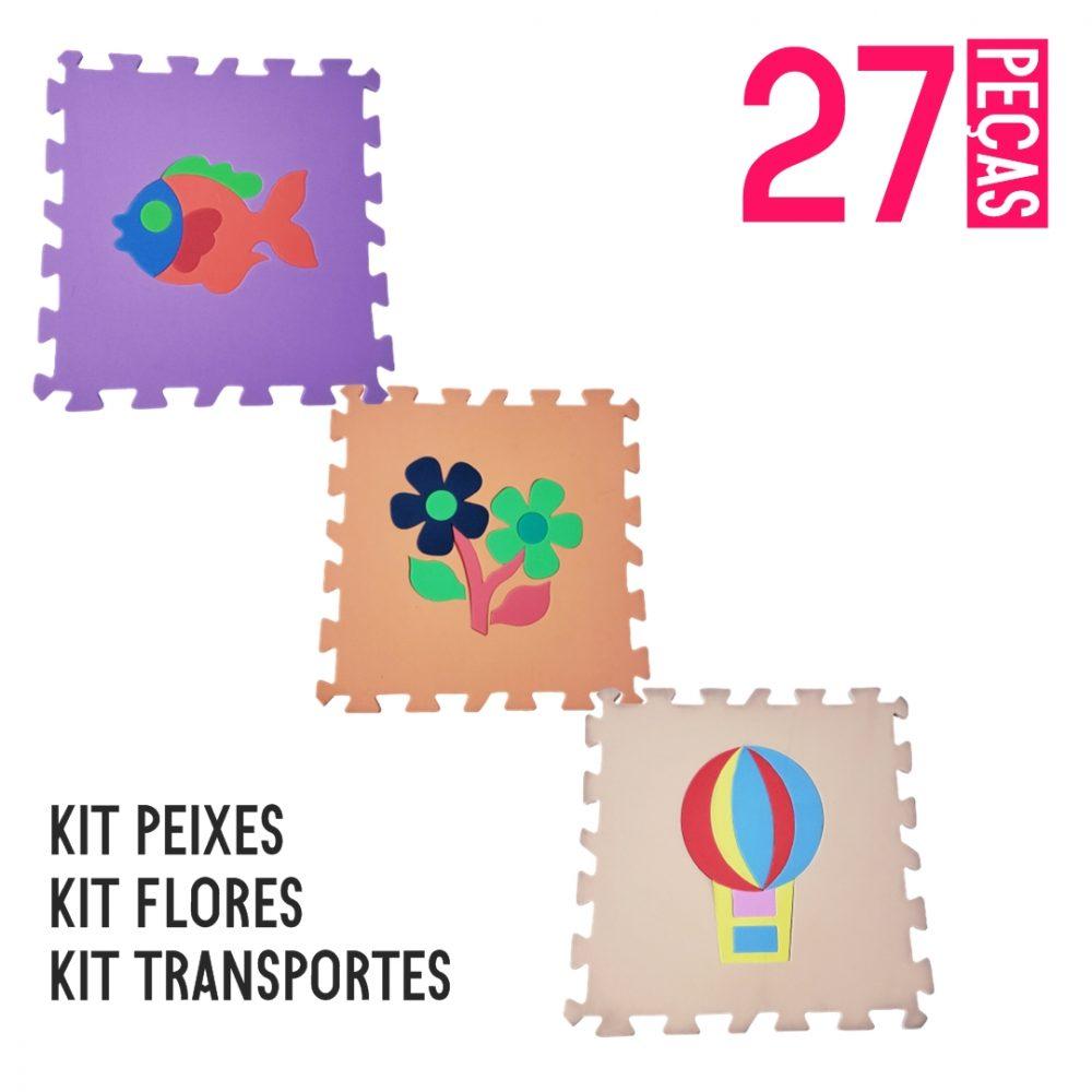 KIT TAPETE EVA 3 UNIDADES – TRANSPORTES / PEIXES / FLORES
