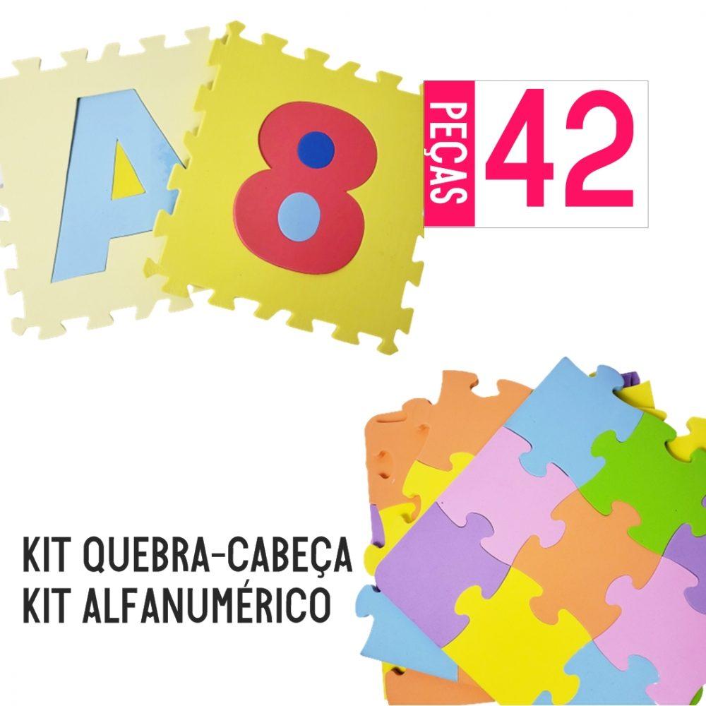 KIT TAPETE EVA ALFANUMÉRICO 36 PEÇAS + QUEBRA CABEÇA 6 PEÇAS