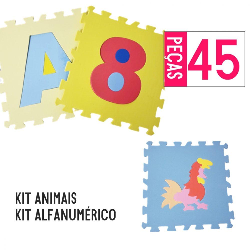 KIT TAPETE EVA ALFANUMÉRICO 36 PEÇAS + ANIMAIS 9 PÇS