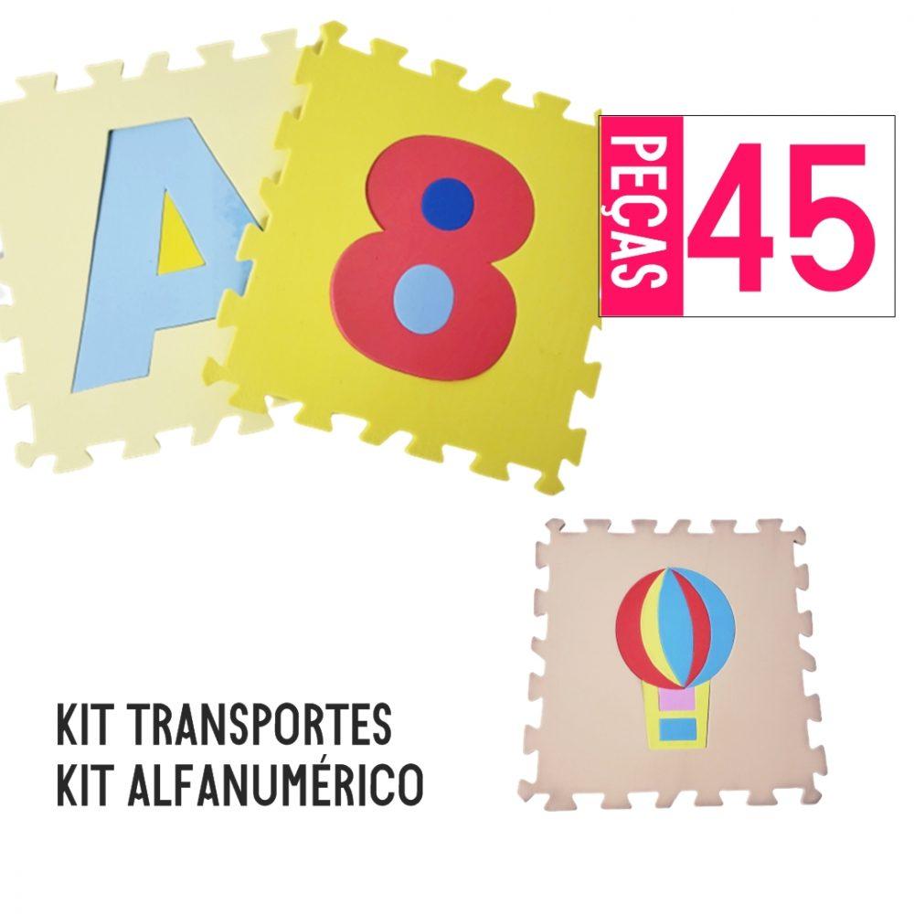 KIT TAPETE EVA ALFANUMÉRICO 36 PEÇAS + TRANSPORTES 9 PÇS