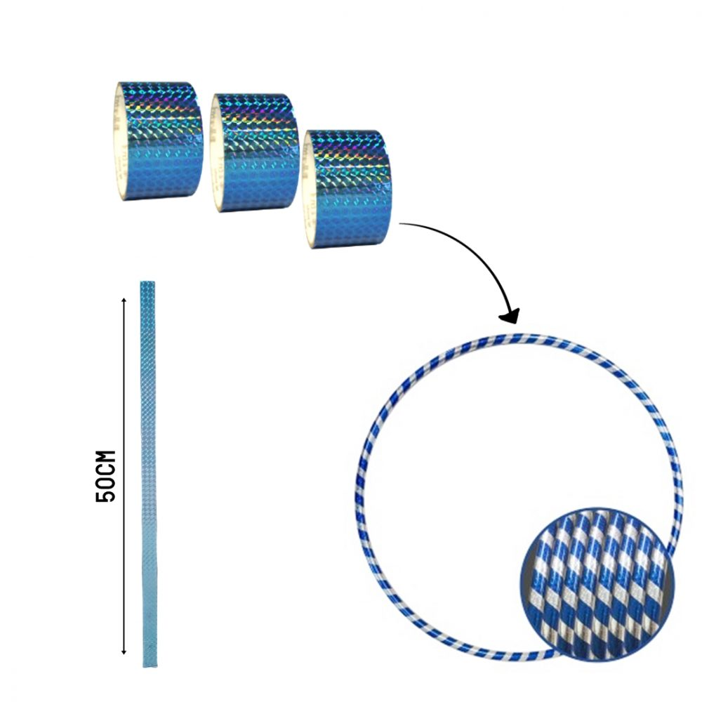 ADESIVO HOLOGRÁFICO EM TIRAS 10 metros x 1,9 cm cor:Azul Claro