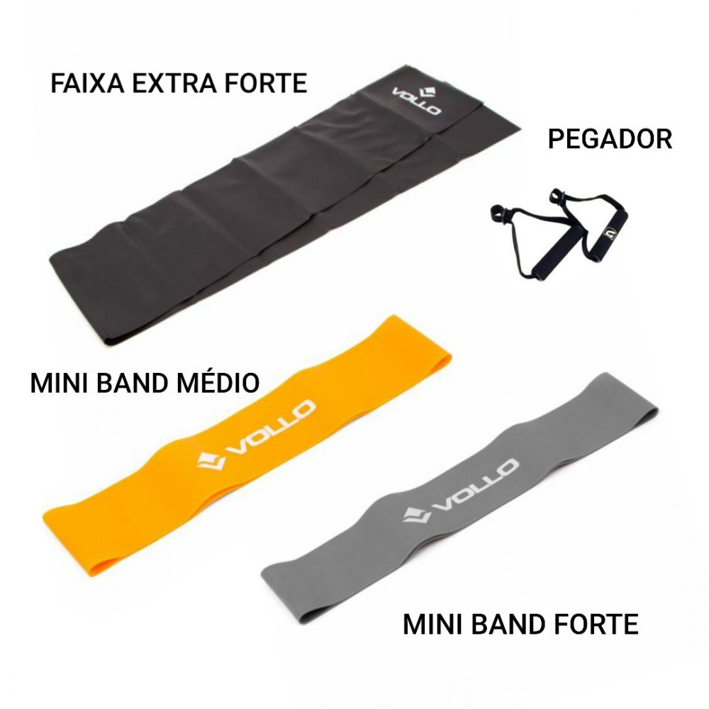 Faixa Elast E.Forte + pegador + 2 Mini Band med/fort Vollo