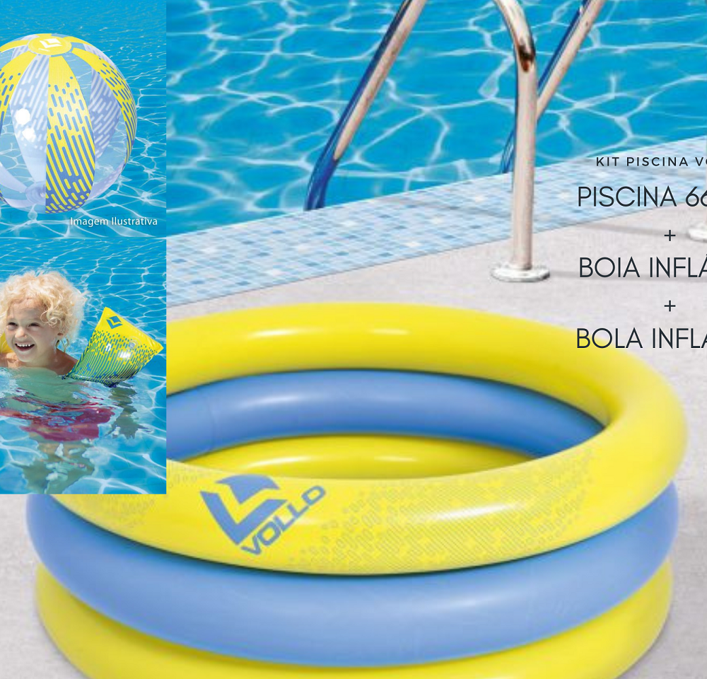 KIT PISCINA  66L + BOIA + BOLA INFLÁVEL VOLLO