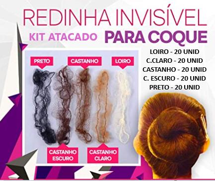 KIT Redinha Invisível P/ Coque – 100 unidades Sortidas