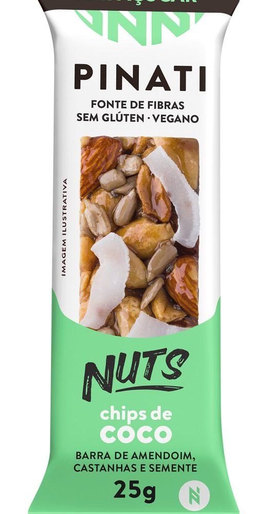 BARRA PINATI NUTS ZERO CHIPS DE COCO CAIXA 12 UNID DE 30G