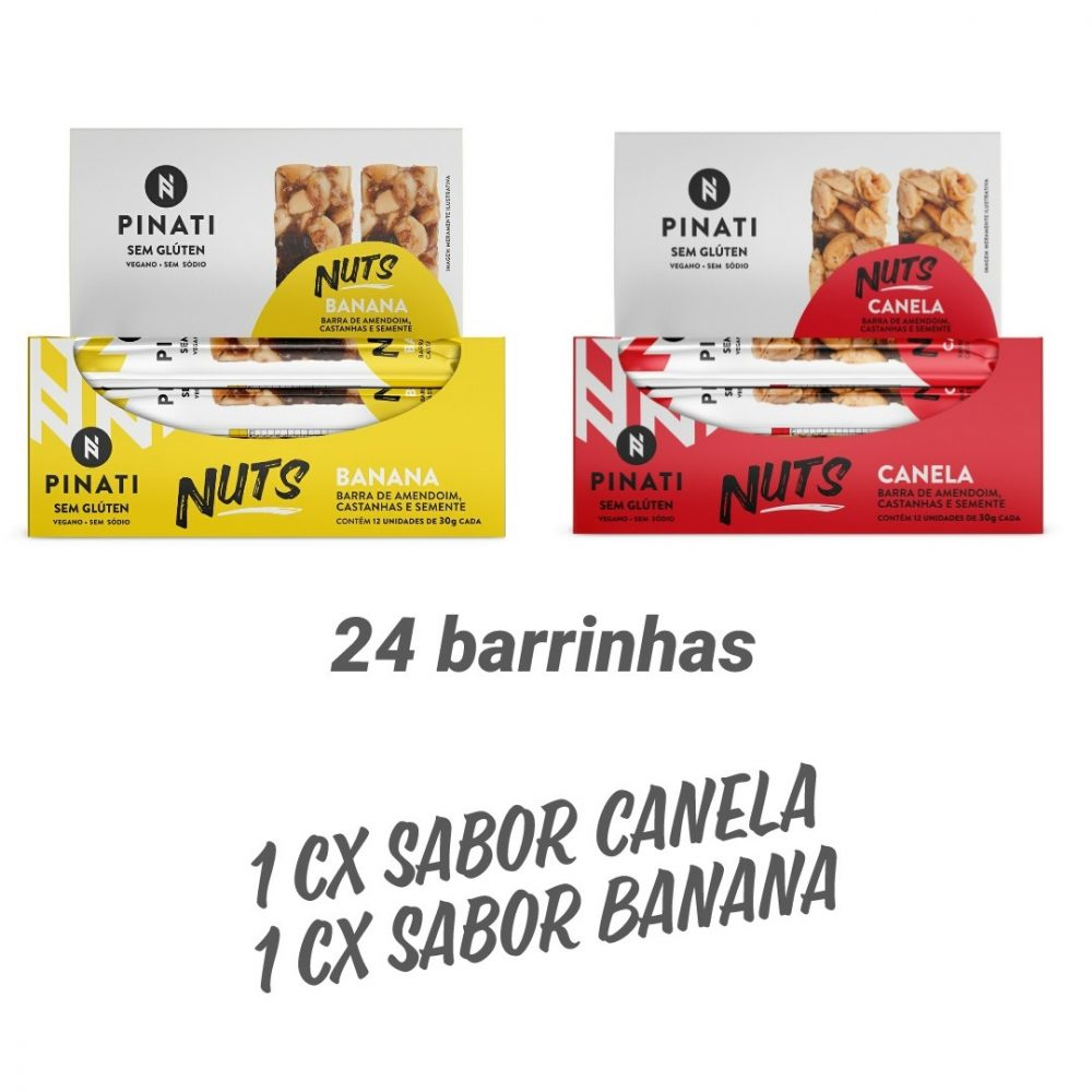 KIT BARRA PINATI NUTS BANANA/CANELA – 2 CXS 12 UNID CD X 30G