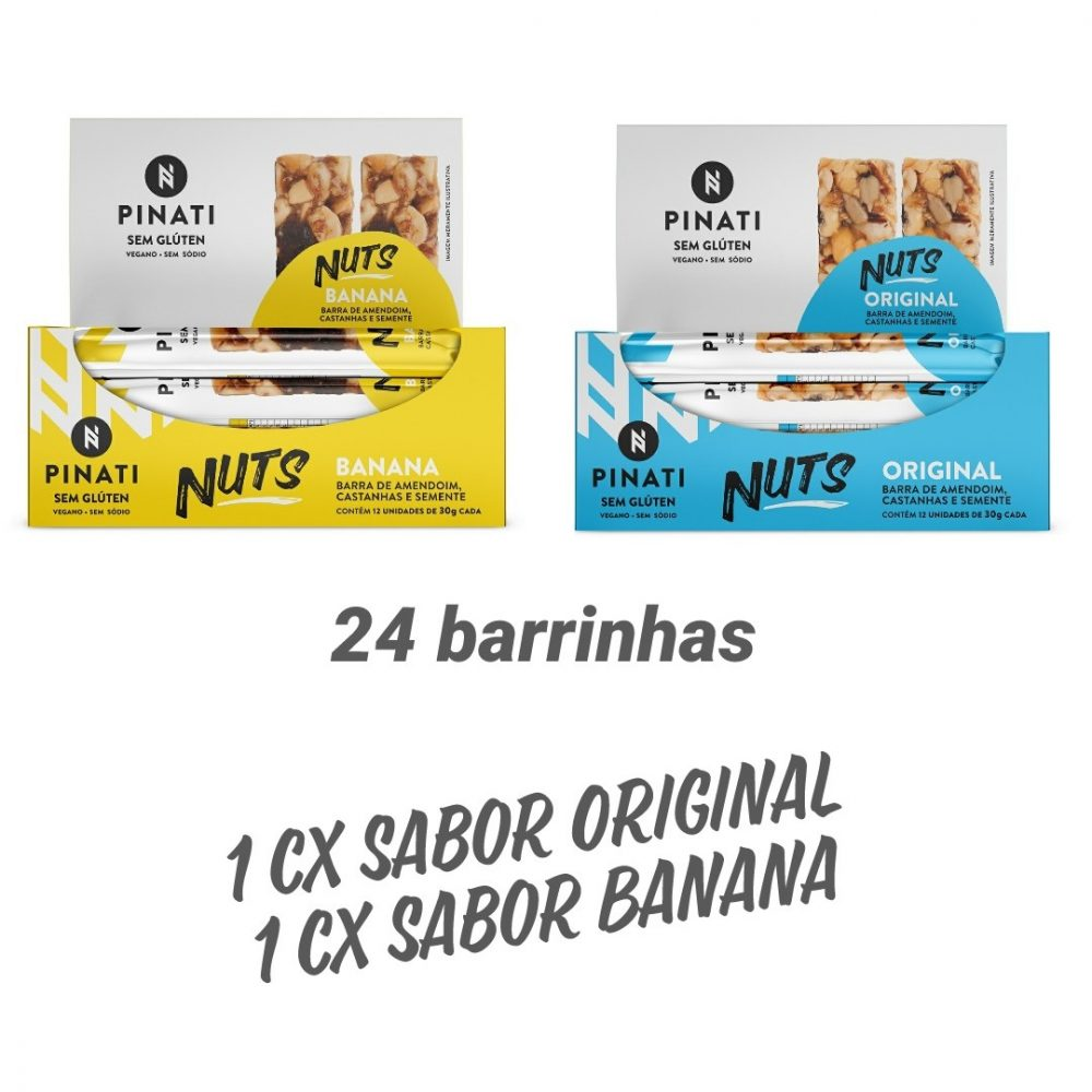 KIT BARRA PINATI NUTS ORIGINAL/BANANA – 2 CXS 12 UNID  X 30G
