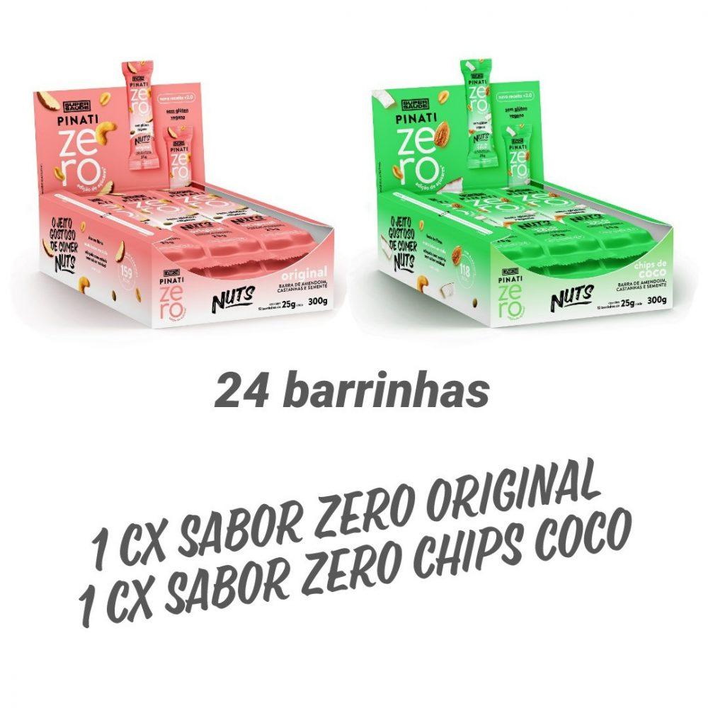 KIT 2 CXS C/ 12 BARRA PINATI NUTS ZERO ORIGINAL E CHIPS DE COCO 24 UNID DE 30G