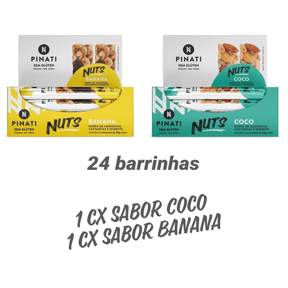 KIT BARRA PINATI NUTS BANANA/COCO – 2 CXS 12 UNID CADA X 30G