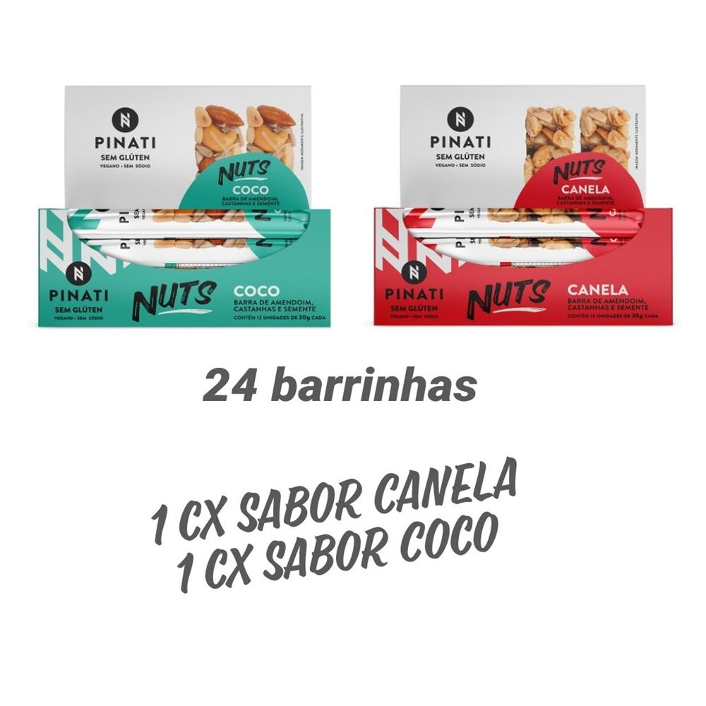 KIT BARRA PINATI NUTS CANELA/COCO – 2 CXS 12 UNID CADA X 30G